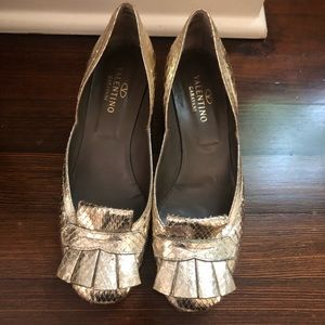 Valentino gold tassel kitten heel shoes